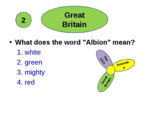 """What does the word """"Albion"""" mean? 1. white 2. green 3. mighty 4. red Great B"""