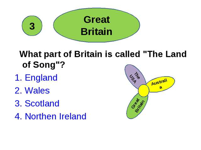"""What part of Britain is called """"The Land of Song""""? 1. England 2. Wales 3. Sc..."""