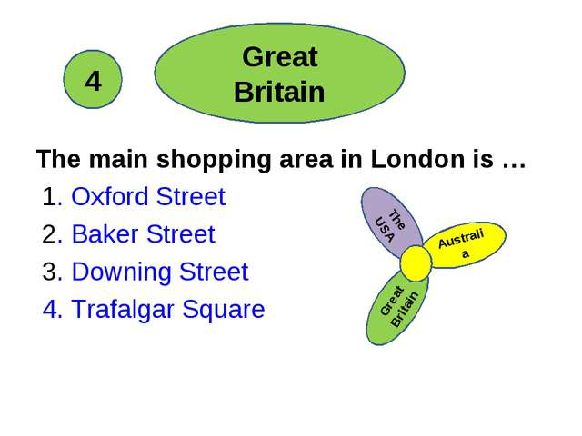 The main shopping area in London is … 1. Oxford Street 2. Baker Street 3. Do...