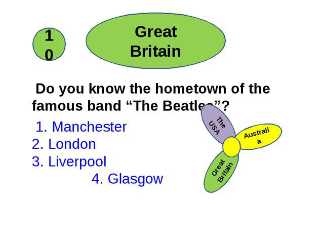 """Do you know the hometown of the famous band """"The Beatles""""? 1. Manchester 2...."""