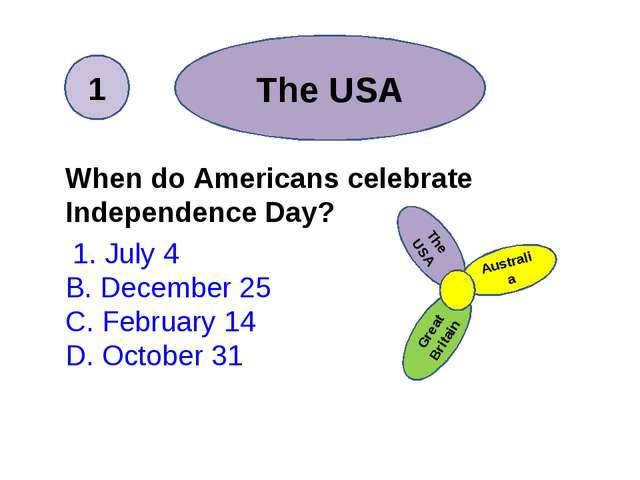 The USA When do Americans celebrate Independence Day? 1. July 4 B. December 2...