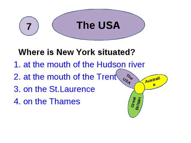 Where is New York situated? 1. at the mouth of the Hudson river 2. at the m...