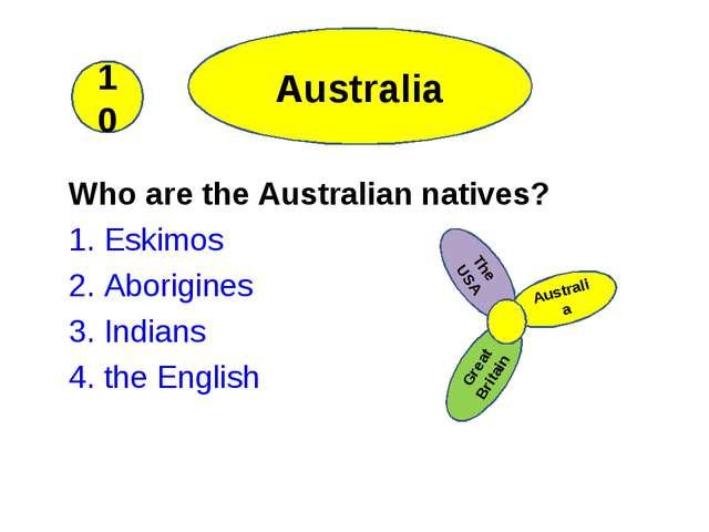 Who are the Australian natives? 1. Eskimos 2. Aborigines 3. Indians 4. the E...