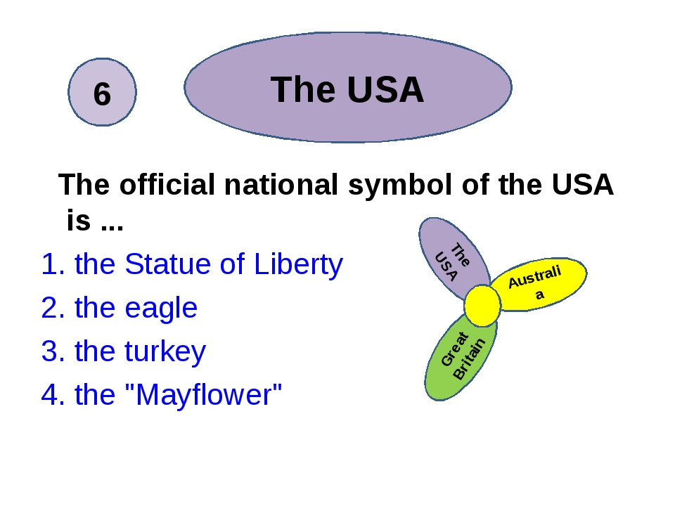 The official national symbol of the USA is ... 1. the Statue of Liberty 2. t...