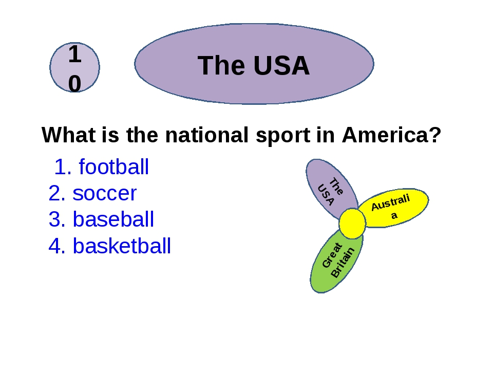 What is the national sport in America? 1. football 2. soccer 3. baseball 4....