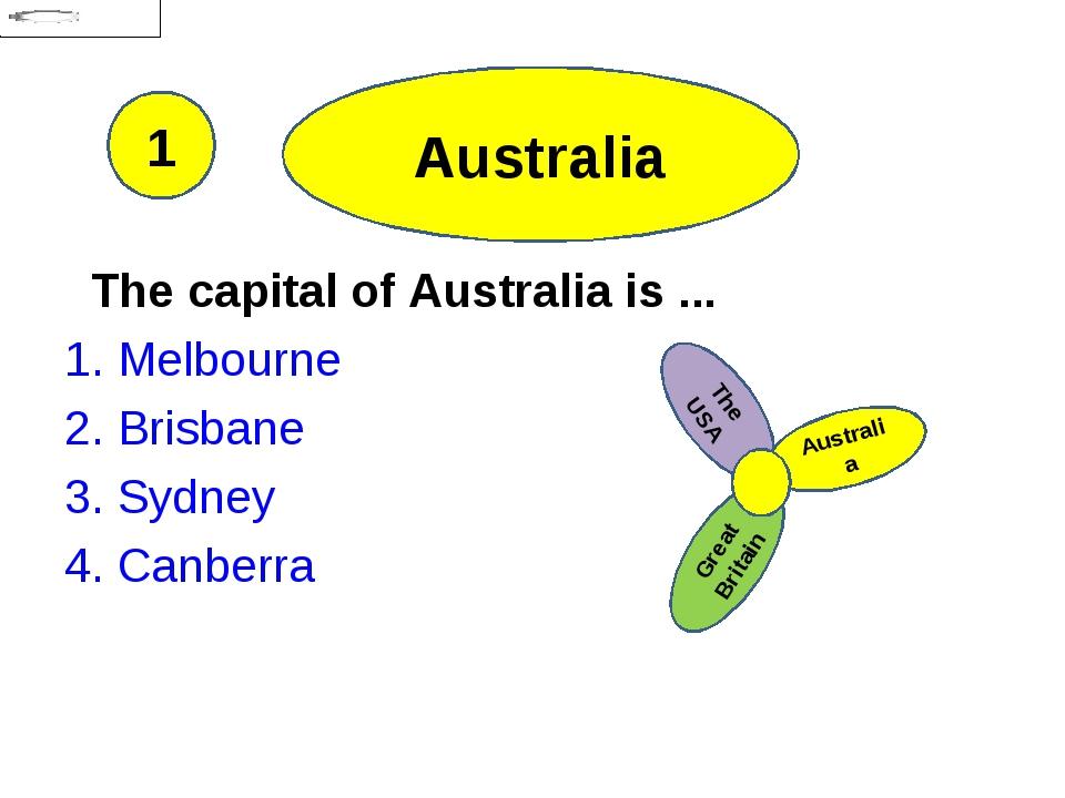 Australia The capital of Australia is ... 1. Melbourne 2. Brisbane 3. Sydney...