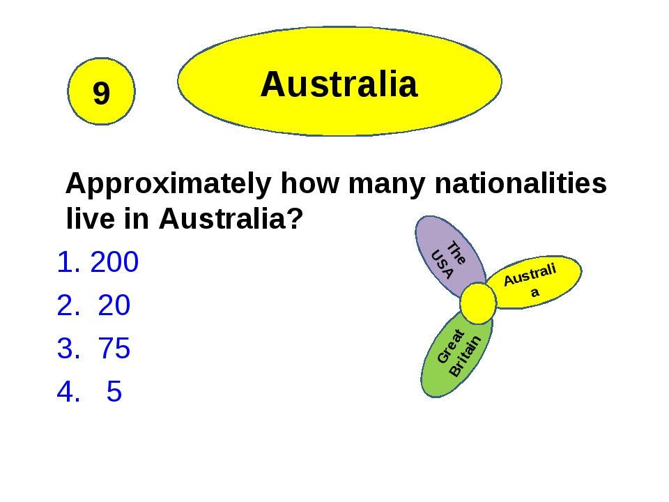 Approximately how many nationalities live in Australia? 1. 200 2. 20 3. 75 4...