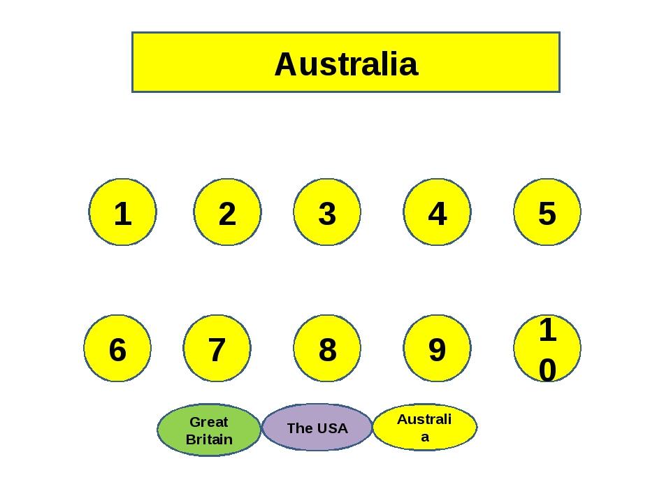 Australia 1 7 8 9 10 2 3 4 5 6 Australia The USA Great Britain Australia The...