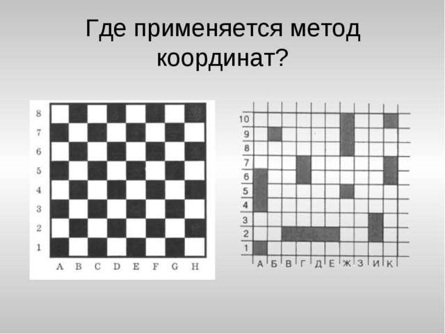 Где применяется метод координат?