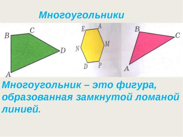 Многоугольники Многоугольник – это фигура, образованная замкнутой ломаной лин...