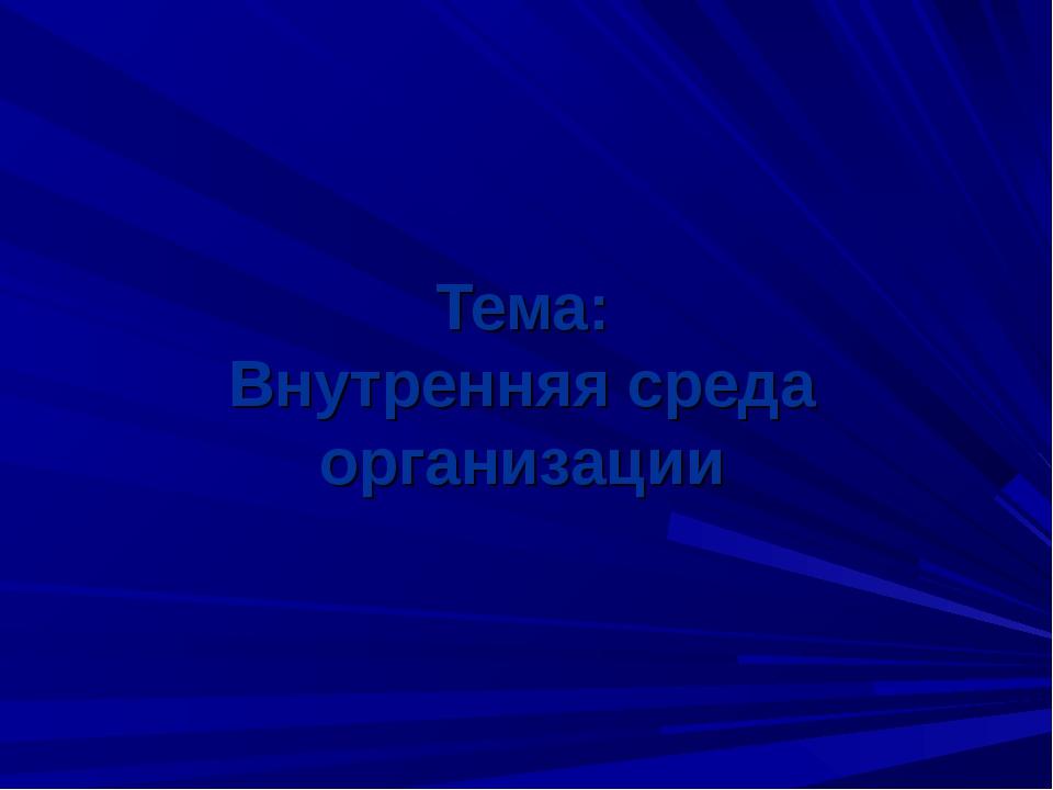 Тема: Внутренняя среда организации