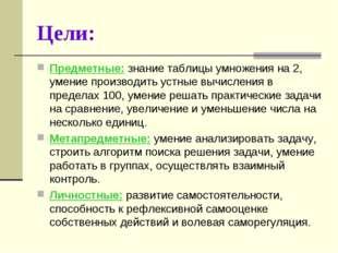 Цели: Предметные: знание таблицы умножения на 2, умение производить устные вы