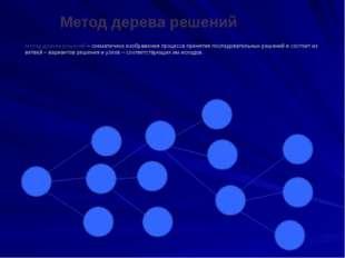 Метод дерева решений Метод дерева решений – схематичное изображения процесса