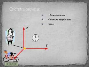 Основные понятия кинематики: Материальная точка Механическое движение Систем