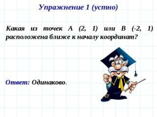 Упражнение 1 (устно) Какая из точек A (2, 1) или B (-2, 1) расположена ближе