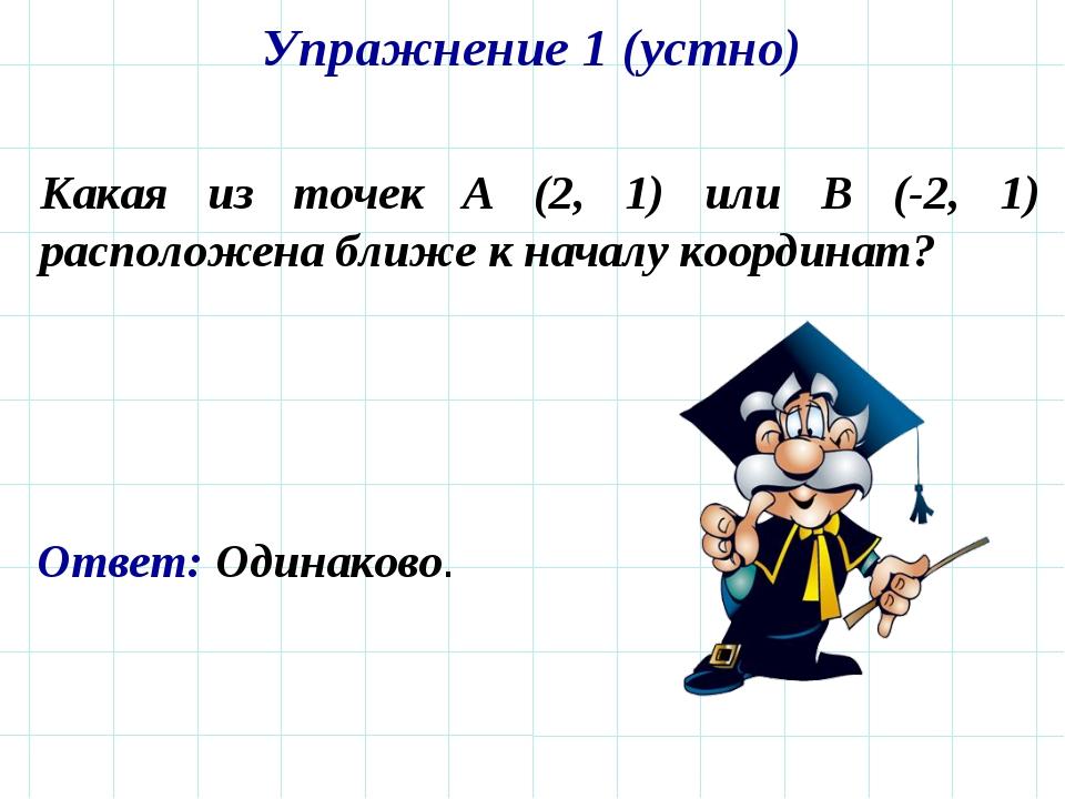 Упражнение 1 (устно) Какая из точек A (2, 1) или B (-2, 1) расположена ближе...