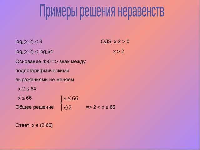 log4(x-2) ≤ 3 ОДЗ: х-2 > 0 log4(x-2) ≤ log464 х > 2 Основание 4≥0 => знак меж...