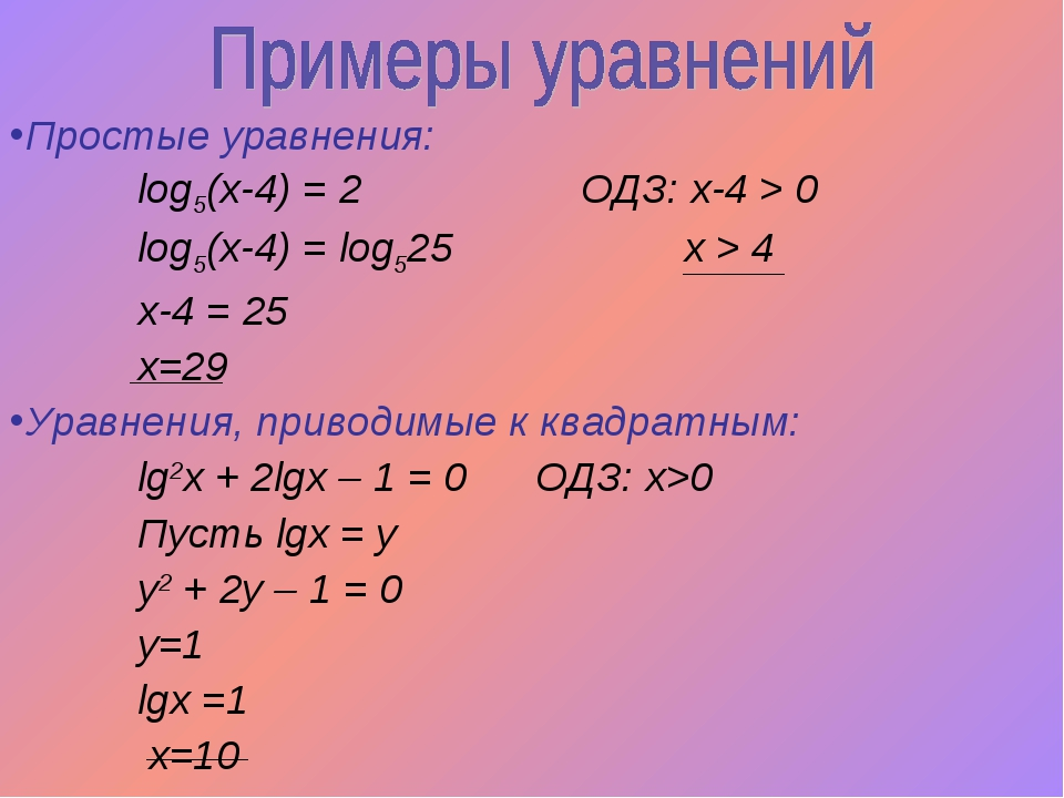 Простые уравнения: log5(x-4) = 2 ОДЗ: х-4 > 0 log5(x-4) = log525 х > 4 x-4 =...