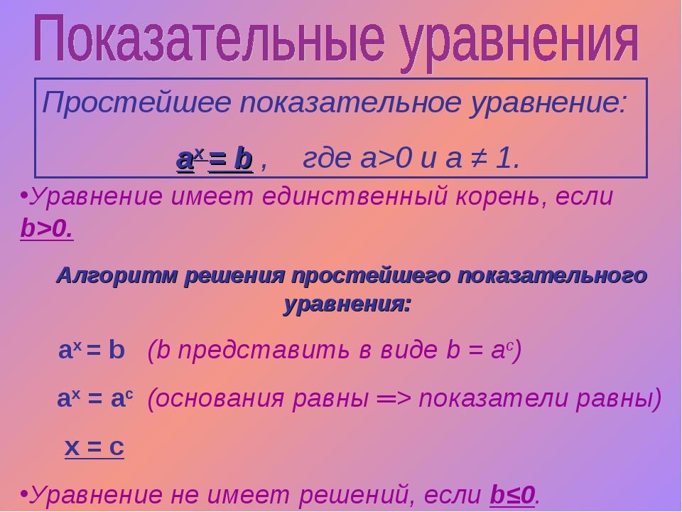 Простейшее показательное уравнение: аx = b , где a>0 и a ≠ 1. Уравнение имеет...