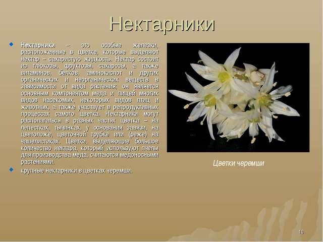 Нектарники Нектарники – это особые железки, расположенные в цветке, которые в...
