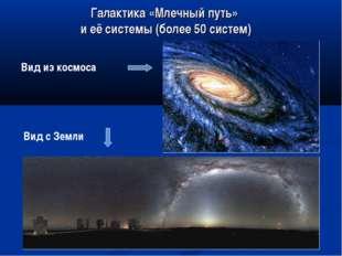 Галактика «Млечный путь» и её системы (более 50 систем) Вид из космоса Вид с