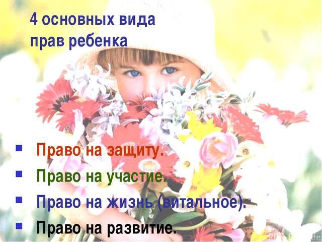4 основных вида прав ребенка Право на защиту. Право на участие. Право на жизн...