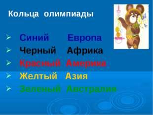 Кольца олимпиады Синий Европа Черный Африка Красный Америка Желтый Азия