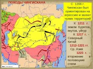 ПОХОДЫ ЧИНГИСХАНА К 1211 г. земли бурятов, якутов, уйгур К 1217 г. - Северный