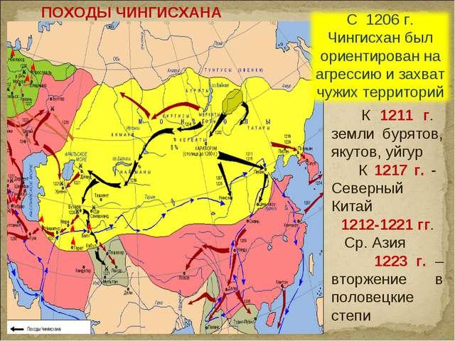 ПОХОДЫ ЧИНГИСХАНА К 1211 г. земли бурятов, якутов, уйгур К 1217 г. - Северный...