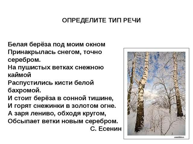 ОПРЕДЕЛИТЕ ТИП РЕЧИ Белая берёза под моим окном Принакрылась снегом, точно се...