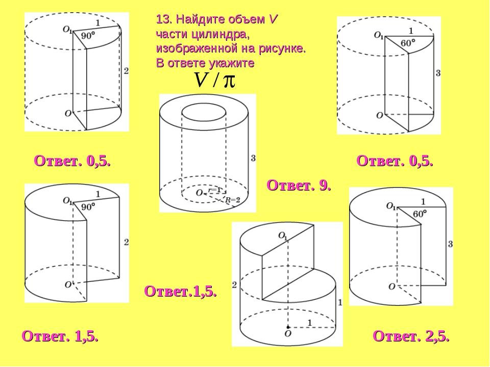 13. Найдите объем V части цилиндра, изображенной на рисунке. В ответе укажите...
