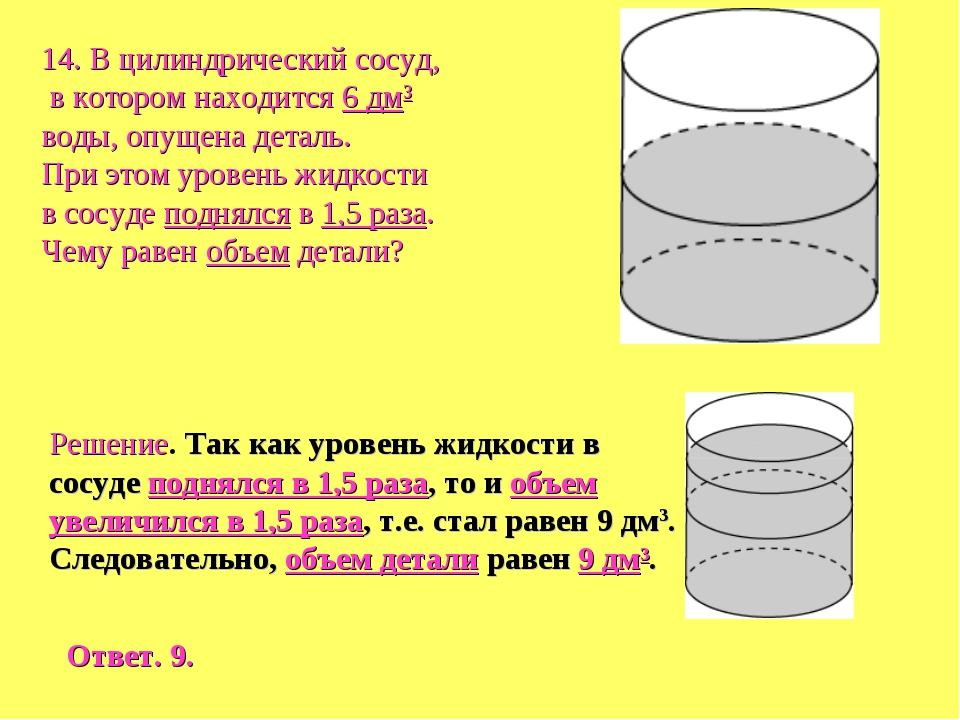 14. В цилиндрический сосуд, в котором находится 6 дм3 воды, опущена деталь. П...