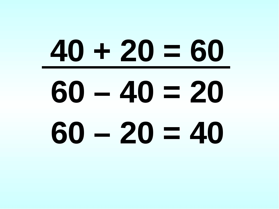 40 + 20 = 60 60 – 40 = 20 60 – 20 = 40