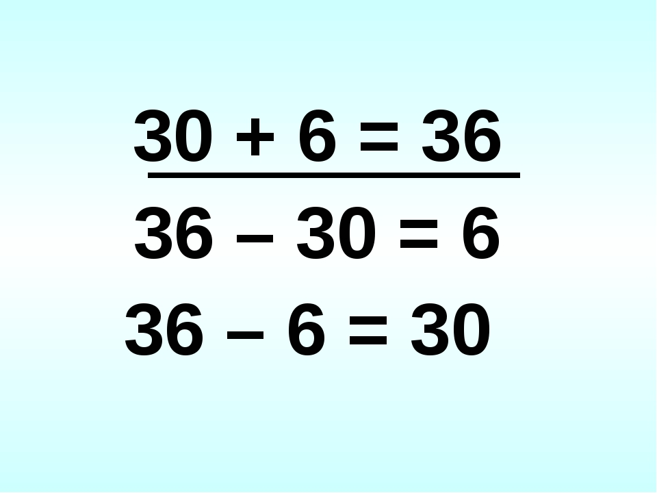 30 + 6 = 36 36 – 30 = 6 36 – 6 = 30