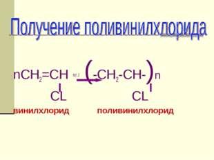 nCH2=CH кат.,t (-CH2-CH-)n CL CL винилхлорид поливинилхлорид