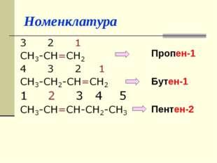 Номенклатура Пропен-1 Бутен-1 Пентен-2