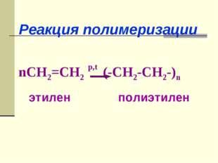 nCH2=CH2 p,t (-CH2-CH2-)n этилен полиэтилен Реакция полимеризации