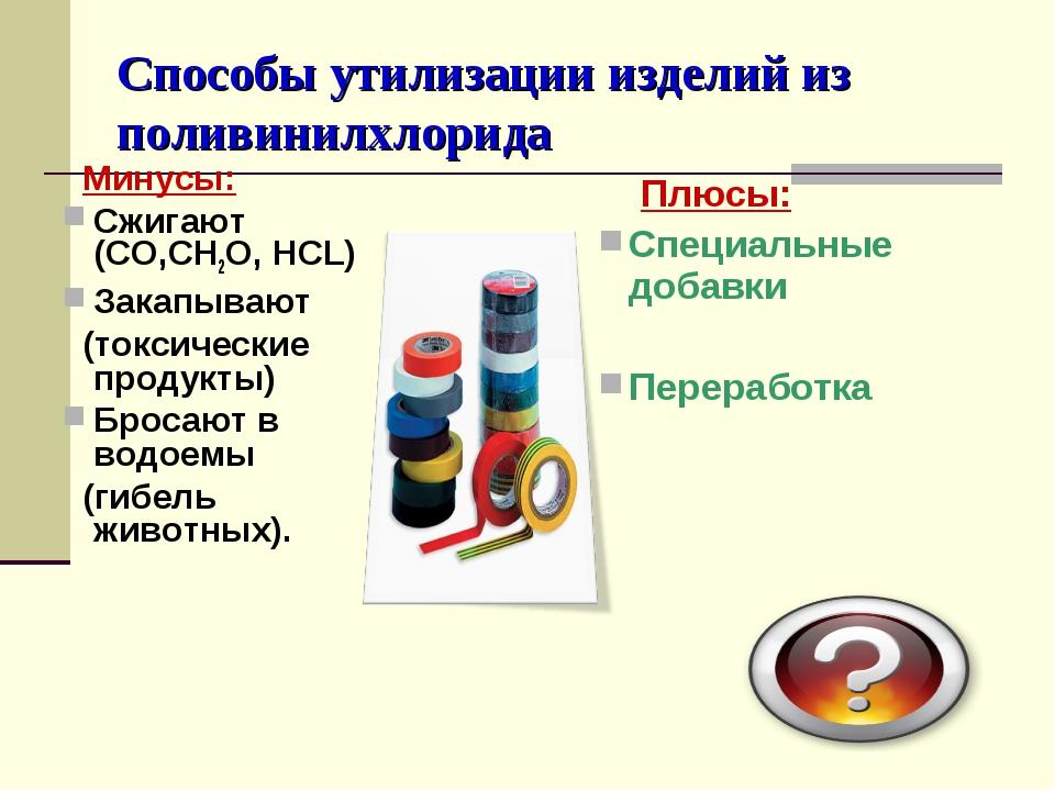 Способы утилизации изделий из поливинилхлорида Минусы: Сжигают (CO,CH2O, HCL)...