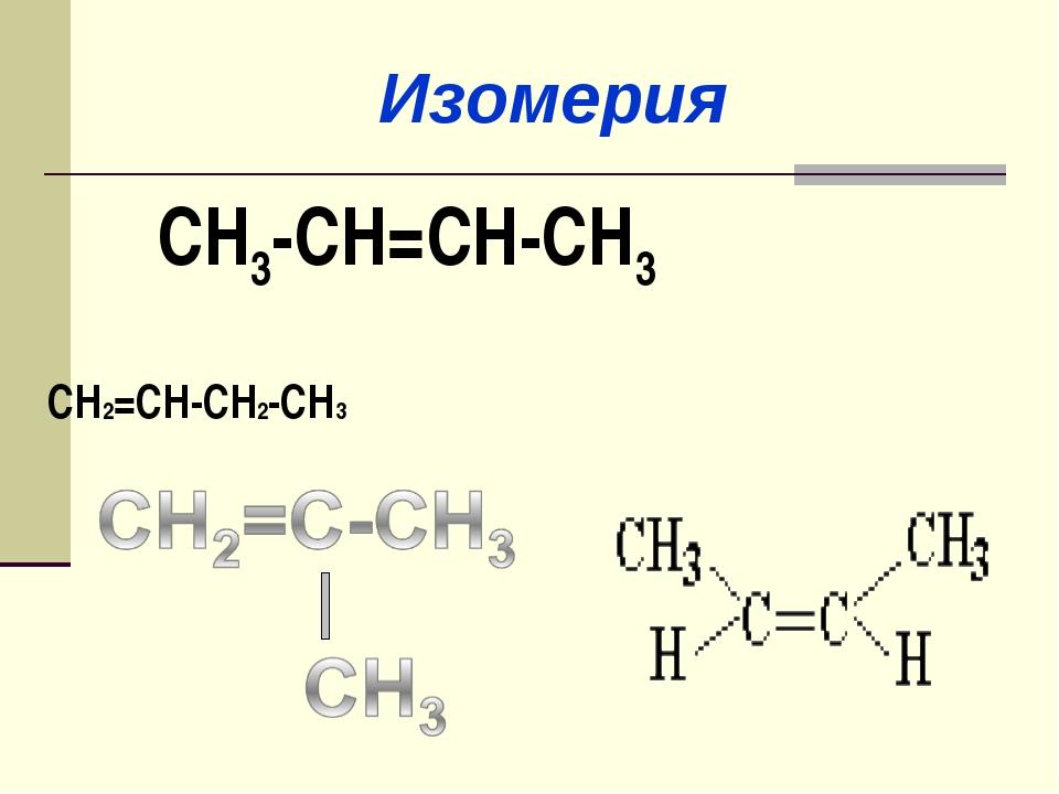 СН3-СН=СН-СН3 СН2=СН-СН2-СН3 Изомерия