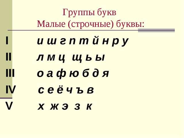 Группы букв Малые (строчные) буквы: I и ш г п т й н р у II л м ц щ ь ы III о...