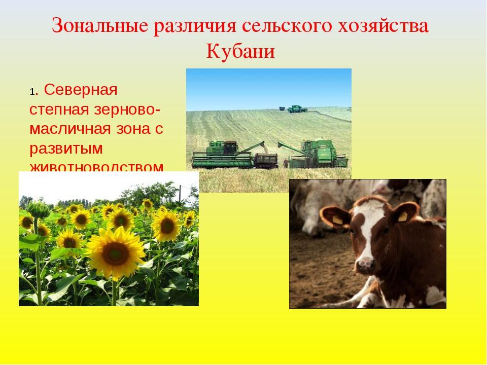 Зональные различия сельского хозяйства Кубани 1. Северная степная зерново-мас...