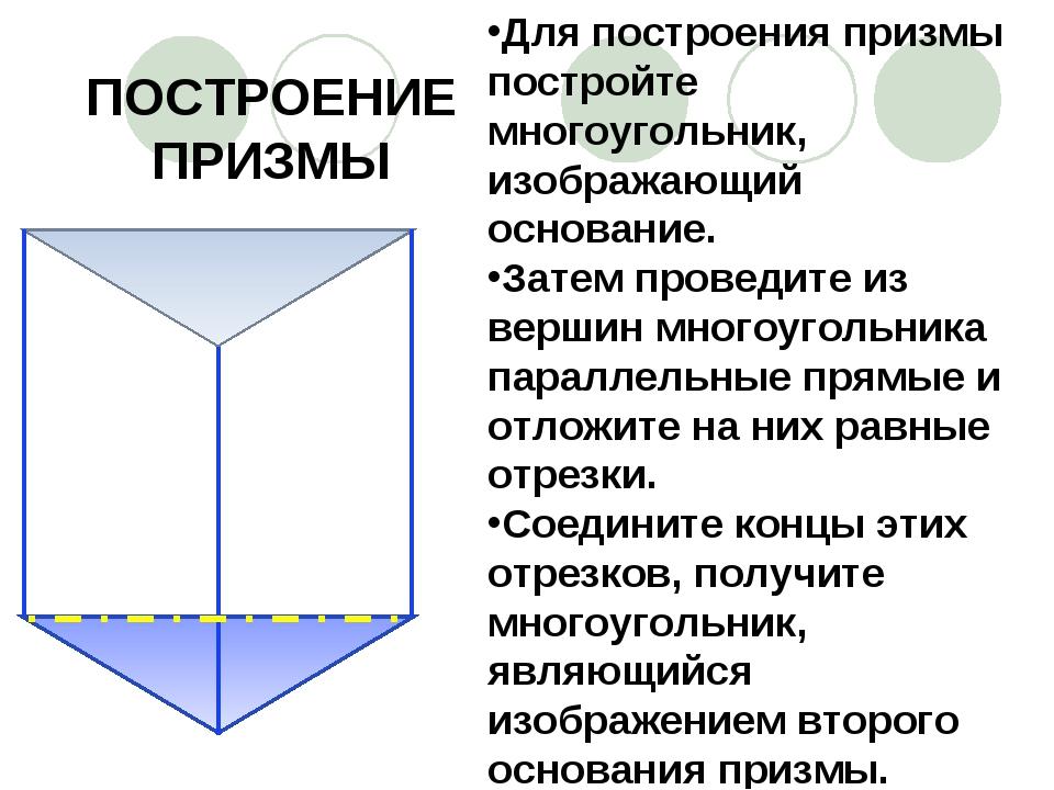 ПОСТРОЕНИЕ ПРИЗМЫ Для построения призмы постройте многоугольник, изображающий...