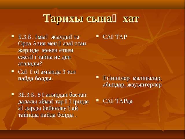 Тарихы сынақ хат Б.З.Б. 1мың жылдықта Орта Азия мен Қазақстан жерінде мекен е...