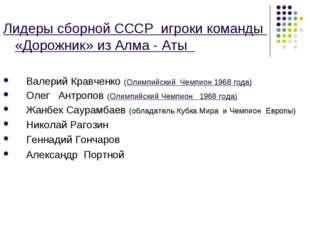 Лидеры сборной СССР игроки команды «Дорожник» из Алма - Аты Валерий Кравченко