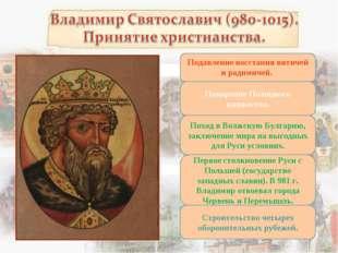 Подавление восстания вятичей и радимичей. Покорение Полоцкого княжества. Похо