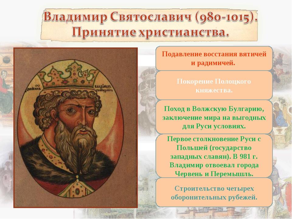 Подавление восстания вятичей и радимичей. Покорение Полоцкого княжества. Похо...