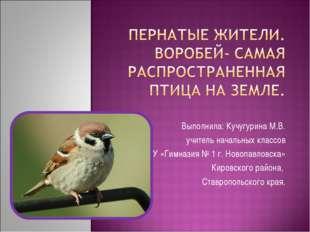 Выполнила: Кучугурина М.В. учитель начальных классов МБОУ «Гимназия № 1 г. Но