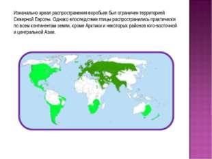 Изначально ареал распространения воробьев был ограничен территорией Северной