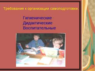Требования к организации самоподготовки. Гигиенические Дидактические Воспитат