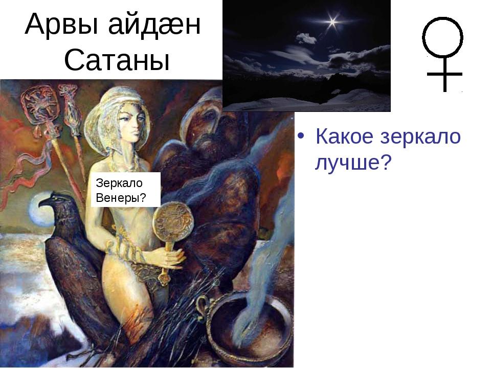 Арвы айдæн Сатаны Какое зеркало лучше? Венера –отра-жение от плот-ной атмосфе...